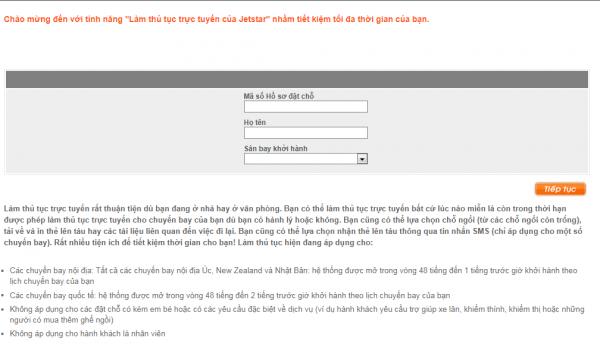 Hướng dẫn check-in online Jetstar